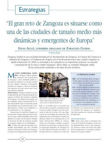 """""""El gran reto de Zaragoza es situarse como una de las ciudades de ..."""