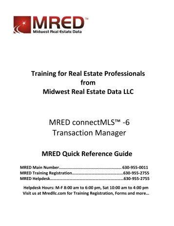 MRED connectMLS -6 Transaction Manager