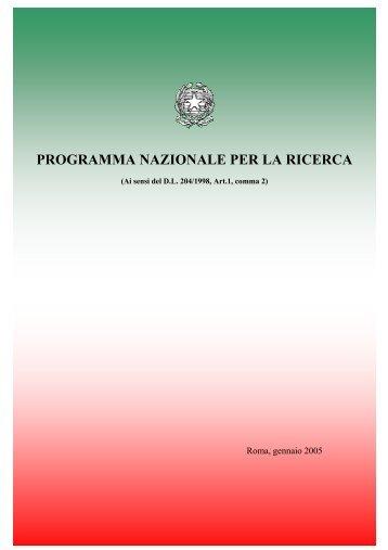 PROGRAMMA NAZIONALE PER LA RICERCA - Cna