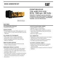 CONTINUOUS 728 ekW 910 kVA 50 Hz 1500 rpm 400 ... - Caterpillar