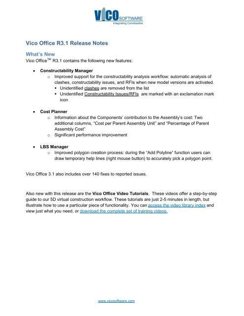 Vico Office R3 1 Release Notes - Vico Software