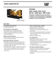 PRIME 400 ekW 500 kVA 50 Hz 1500 rpm 400 Volts - Caterpillar