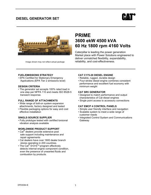 3600 ekW 4500 kVA 60 Hz 1800 rpm 4160 Volts - Caterpillar