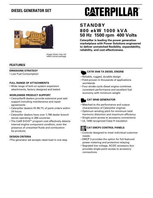 Hz To Rpm >> Standby 800 Ekw 1000 Kva 50 Hz 1500 Rpm 400 Volts Pon Cat