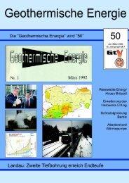 1 Geothermische Energie 50/2006 - Geothermie