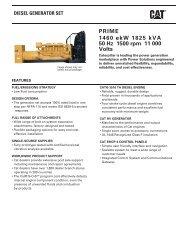 PRIME 1460 ekW 1825 kVA 50 Hz 1500 rpm 11 000 Volts - Caterpillar
