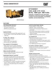 STANDBY 300 ekW 375 kVA 60 Hz 1800 rpm 480 Volts - Caterpillar