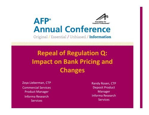Repeal of Regulation Q Impact on Bank Pricing and Changes