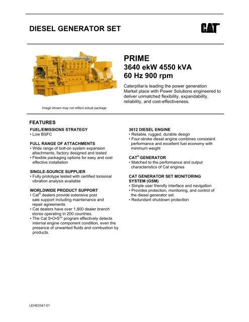 DIESEL GENERATOR SET 3640 ekW 4550 kVA 60 Hz 900 rpm