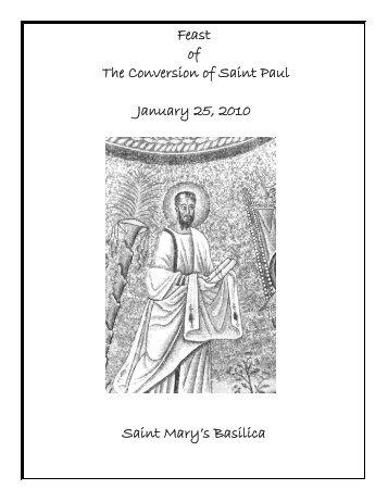 Feast of The Conversion of Saint Paul January 25 2010 Saint Mary's Basilica