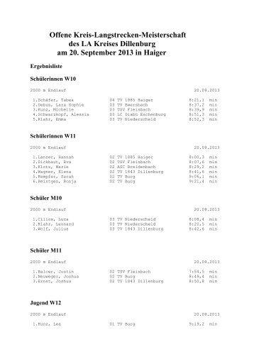 20.09. Kreis-Langstrecken-Meisterschaften - LA-Kreis Dillenburg