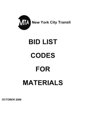 New York City Transit Bid List Codes - MTA.info