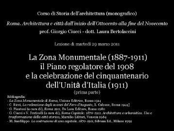La Zona Monumentale (1887-1911) il Piano Regolatore del 1908 e