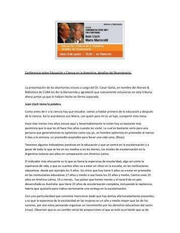 Educación y Ciencia en la Argentina, desafíos del ... - CUBA