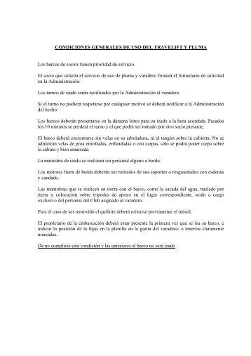 CONDICIONES GENERALES DE USO DEL TRAVELIFT Y ... - CUBA