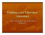Finding your Cherokee Ancestors