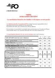 TARIFS année scolaire 2013-2014 La contribution ... - Le PO