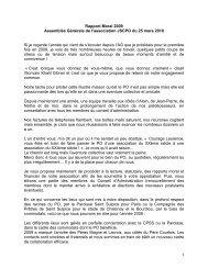 1 Rapport Moral 2009 Assemblée Générale de l'association ... - Le PO