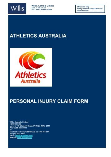 ATHLETICS AUSTRALIA PERSONAL INJURY CLAIM FORM