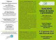 SUICIDIO fattori di rischio e prevenzione Prof ... - CeIS di Belluno
