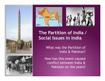 The Partition of India / Social Issues in India
