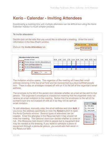 Kerio - Calendar - Inviting Attendees