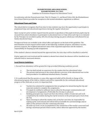 Educational Field Trip Request Form - High School - Elizabethtown ...