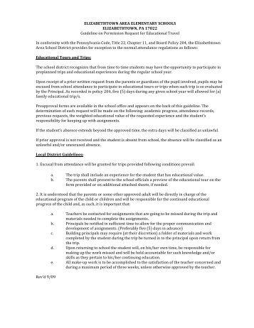 Educational Field Trip Request Form - Elementary - Elizabethtown ...