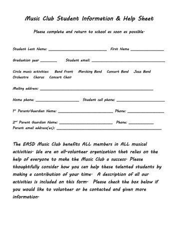 Music Club Student Information & Help Sheet