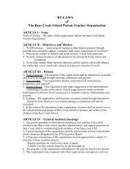 BY-LAWS of The Bear Creek School Parent-Teacher Organization