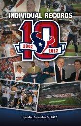 INDIVIDUAL RECORDS - Houston Texans Media Website