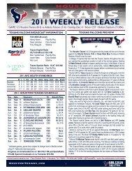Game Release - Houston Texans Media Website