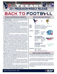 2011 preseason weekly release - Houston Texans Media Website