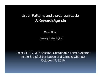 Urban Patterns and the Carbon Cycle - UGEC 2010 Conference
