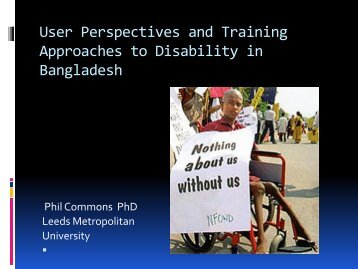 User Perspectives and Training Approaches to Disability in Bangladesh