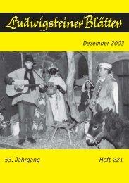 53. Jahrgang Heft 221 Dezember 2003 - Jugendburg Ludwigstein