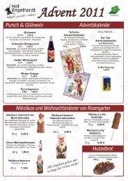 Punsch & Glühwein Adventskalender Hutzelbrot ... - Hof Engelhardt