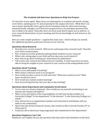 The Academic Job Interview: Questions To Help You Prepare Itu0027s That .