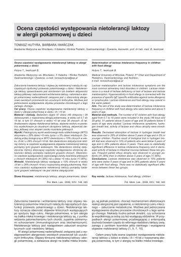 Ocena częstości występowania nietolerancji laktozy w alergii ...