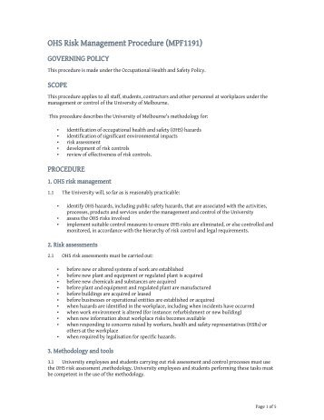 Ohs Policy Template. example of an ohs risk register for ...