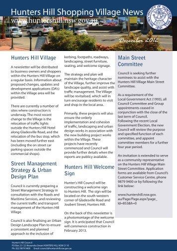 HHVilllageNewsletterDEC2012.pdf - Hunter's Hill Council