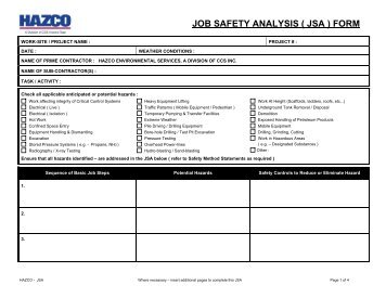 job safety analysis form
