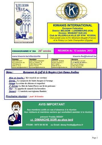 KIIWANIIS IINTERNATIIONAL AVIS IMPORTANT