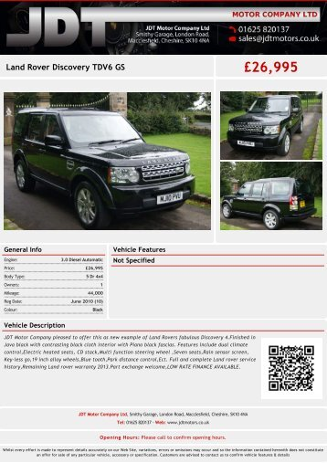 Land Rover Discovery TDV6 GS £28990 - JDT Motor Company Ltd