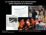 Le «modèle bernois» et la communication partie intégrante de la démarche