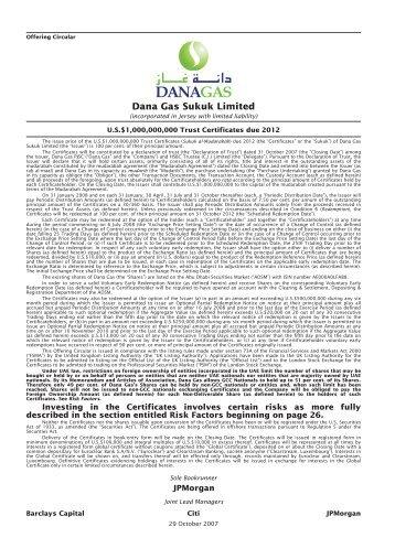 Dana Gas Prospectus - London Stock Exchange