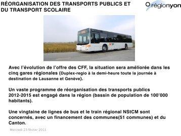 RÉORGANISATION DES TRANSPORTS PUBLICS ET DU TRANSPORT SCOLAIRE