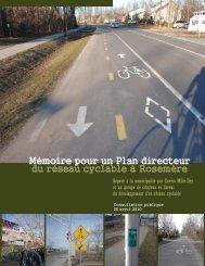 Mémoire pour un Plan directeur du réseau cyclable à Rosemère