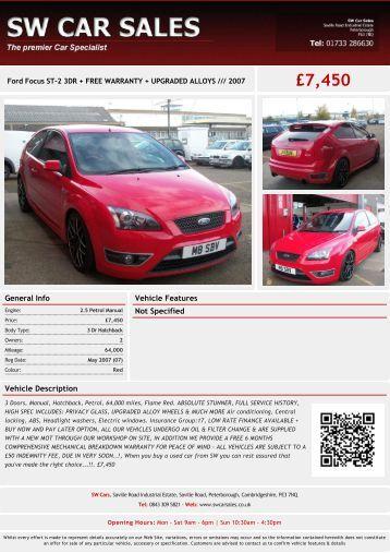 Ford Focus £7450 - SW Car Sales