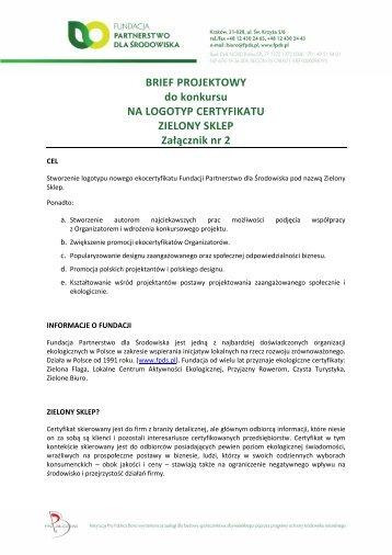 Brief projektowy - Fundacja Partnerstwo dla Środowiska